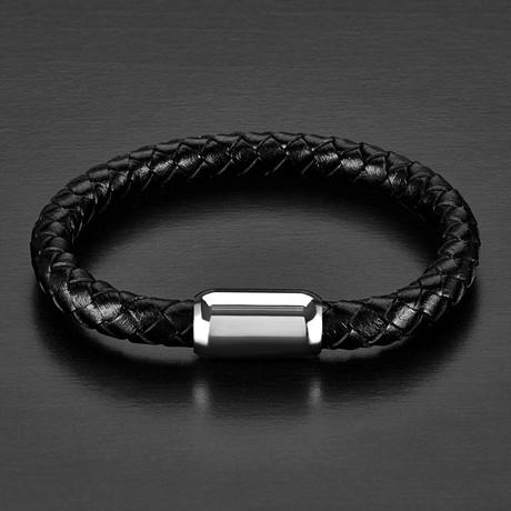 Brushed Black Braided Leather Bracelet