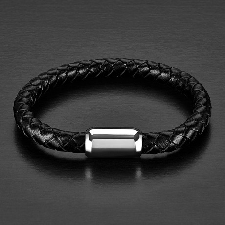 Brushed Braided Leather Bracelet // Black + Silver