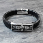 Skull ID Braided Leather Bracelet // Black + Silver