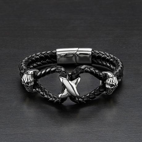 Skull Braided Double Strand Leather Bracelet