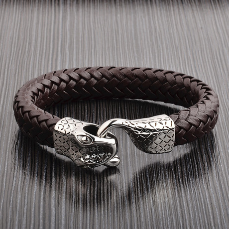 Woven Leather Snake Bracelet // Brown