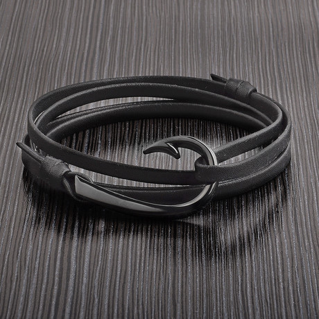 Hook Clasp + Leather Adjustable Wrap Bracelet (Black)