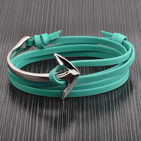 Leather Wrap Bracelet + Anchor Clasp