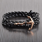 Rose Gold Anchor + Cord Wrap Bracelet // Black + Pink + White