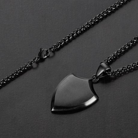 Matte Shield Pendant + Chain Necklace // Black