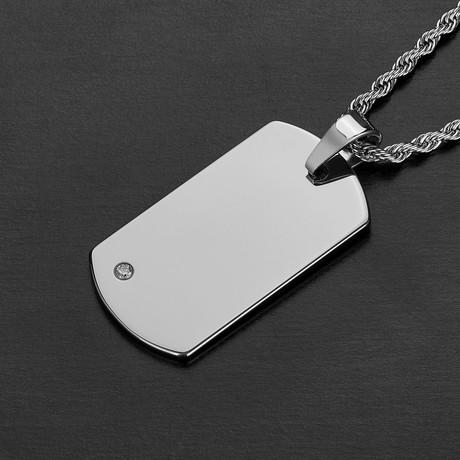 Tungsten Carbide Dog Tag Pendant + Chain // Silver