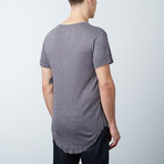 Frayed Scoop Short-Sleeve Tee // Charcoal (2XL)