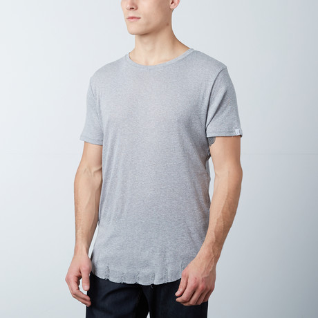 Frayed Scoop Tee // Gray (S)