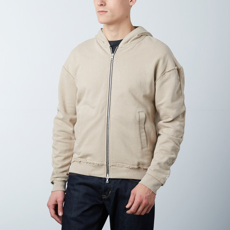 French Terry Zip Bomber Hoodie // Tan