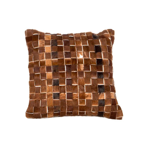 Woven Leather Cushion Cover