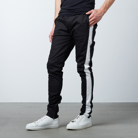 Striped Twill Track Pants + Piping // Black + White