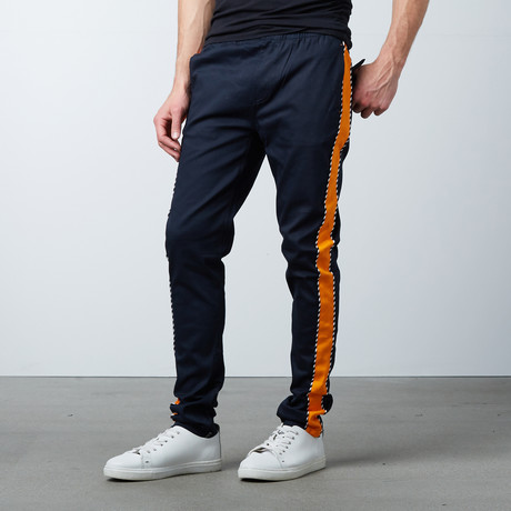 Striped Twill Track Pants + Piping // Navy + Orange (S)