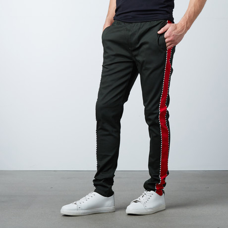 Striped Twill Track Pants + Piping // Olive + Red (S)