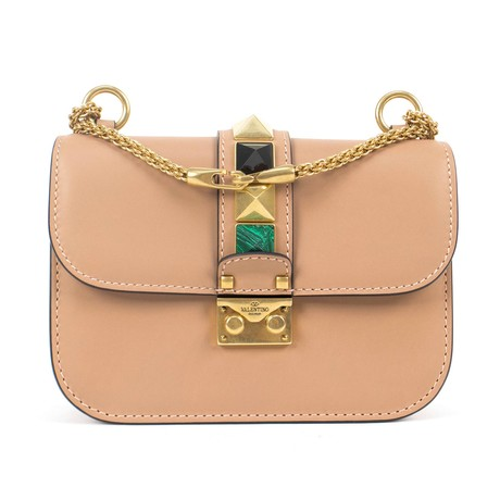 Valentino // Glam Lock Small Cross-Body Shoulder Bag // Brown