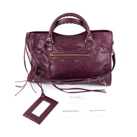 Balenciaga // Classic Gold City Bag // Violet Prune