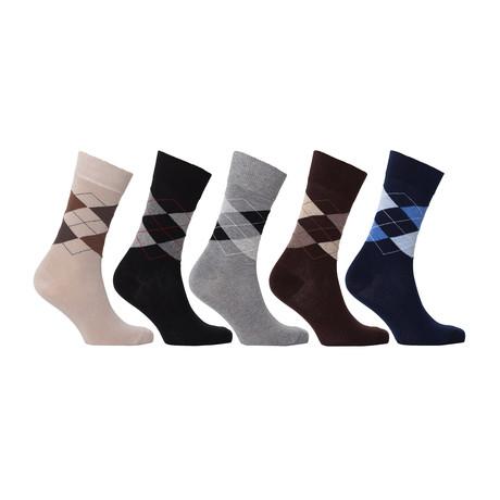 Turkish Classic Stripe Cotton Dress Socks // Set of 5 // 3001