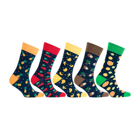 Cotton Fruits Funny Cool Socks // Set of 5 // 3018