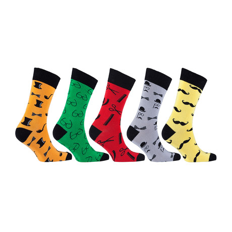 Funky Hipster Bicycle Mustache Socks // Set of 5 // 3016