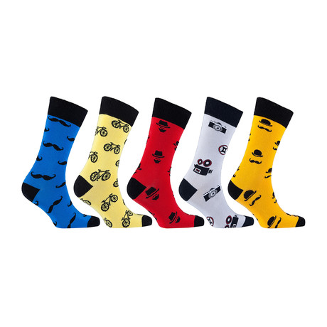 Funky Hipster Bicycle Mustache Socks // Set of 5 // 3017