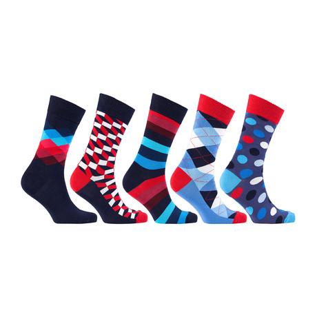 Fun Cool Colorful Mix Dress Socks // Set of 5 // 3024