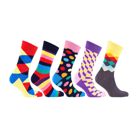 Luxury Fun Cool Colorful Mix Dress Socks // Set of 5 // 3025