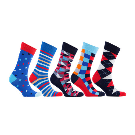 Fun Cool Cotton Colorful Mix Socks // Set of 5 // 3029