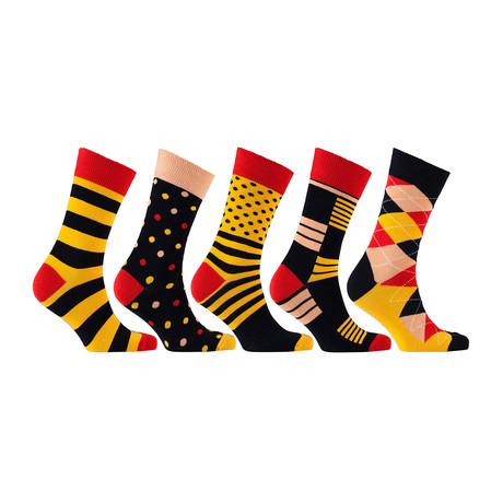 Fun Cool Cotton Colorful Mix Socks // Set of 5 // 3037