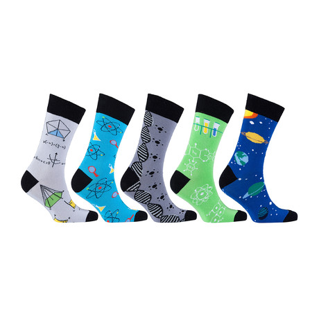 Cotton Science Funny Cool Socks // Set of 5 // 3020