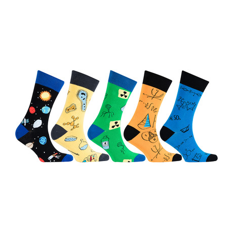 Cotton Science Funny Cool Socks // Set of 5 // 3021