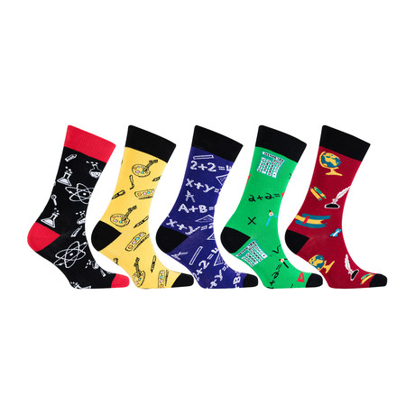 Cotton Science Funny Cool Socks // Set of 5 // 3022