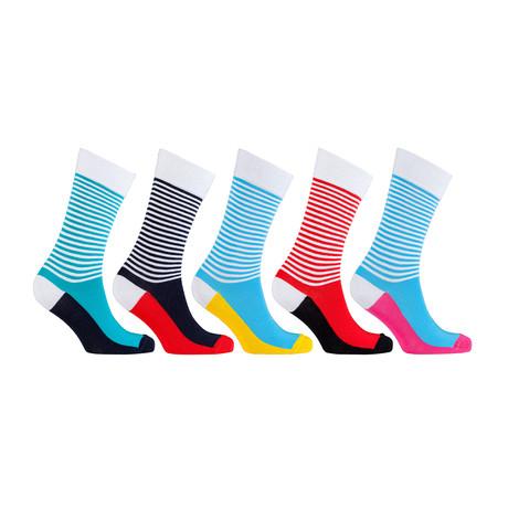 Cotton Striped Cool Dress Socks // Set of 5 // 3049