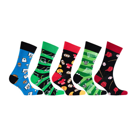 Cotton Sports Funny Cool Socks // Set of 5 // 3019