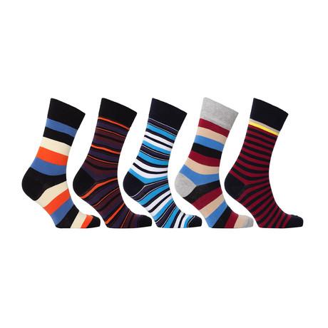 Striped Luxury Turkish Cotton Dress Socks // Set of 5 // 3058