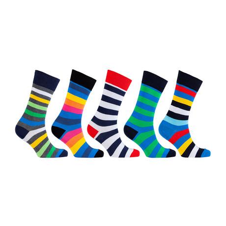 Cotton Striped Cool Dress Socks // Set of 5 // 3068