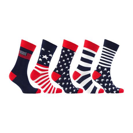 Cotton Patriot USA American Flag Socks // Set of 5 // 3023