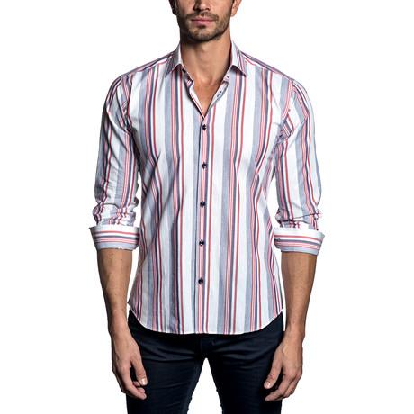 Woven Button-Up // White Multi Stripe