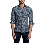 Woven Button-Up // Black Swirl Design (L)