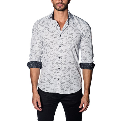 Woven Button-Up // White + Black Print (S)