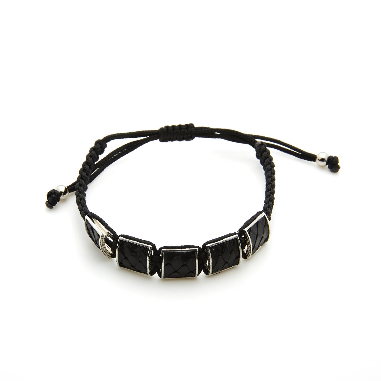 Rhodium Plated Frame + Black Natural Snake Skin Inlay Bracelet ...