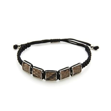 Textured Brown Snake Skin Inlay + Silver Frame Bracelet