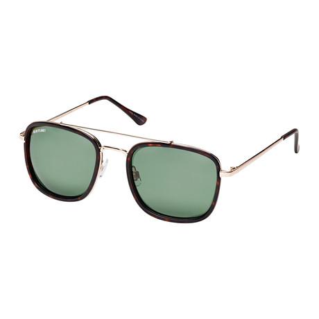 Men's Fisher Polarized Sunglasses // Gold + Matte Tortoise + Gray Green