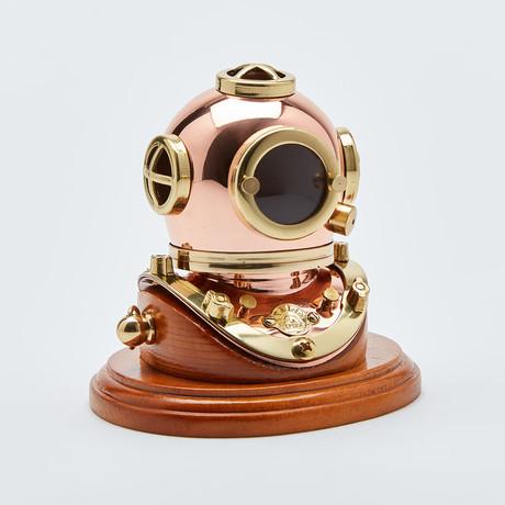 """3"""" Polished Brass & Copper Mark V Dive Helmet + Wood Base"""