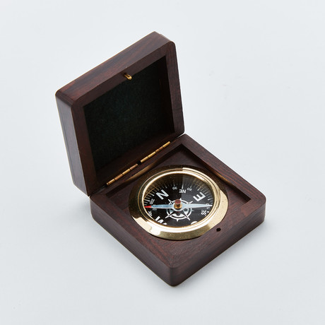 Rosewood Desk Compass + Hand Inlaid Compass Rose