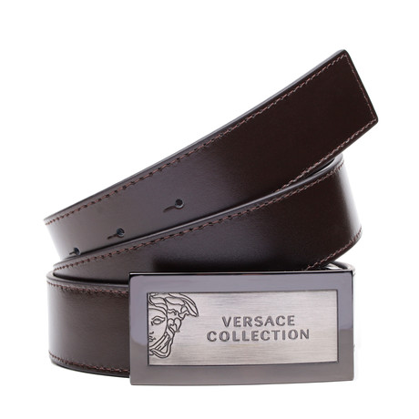Engraved Medusa Belt // Brown
