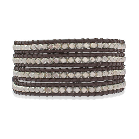 Brown Leather + Metal Beads Bracelet