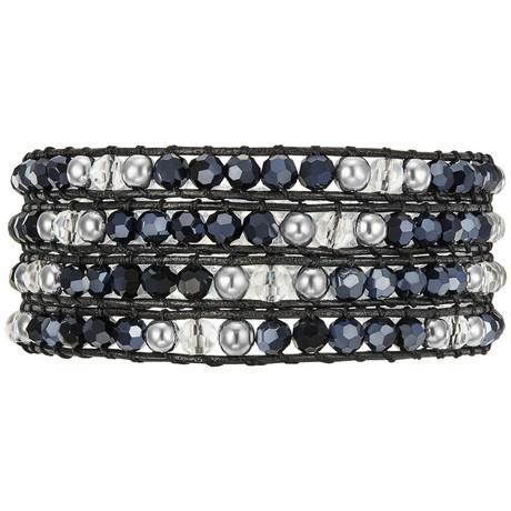 Dark Matter Black Leather Bracelet