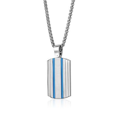 Dog Tag Necklace // Brushed Blue + Silver