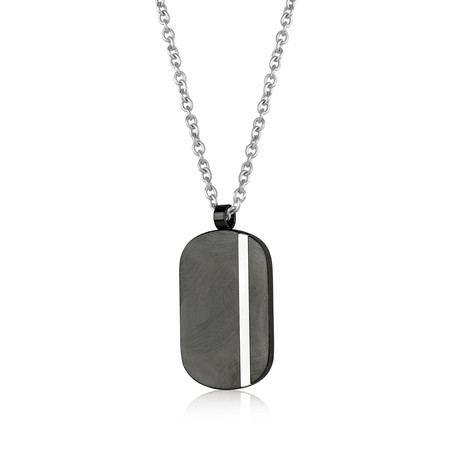 Dog Tag Necklace // Textured Black + Silver