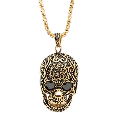 Diamond Skull Pendant Necklace // Gold