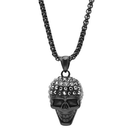 Steel Skull Head Pendant + Black Simulated Diamonds